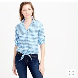 J. Crew Blue White Gingham Tie Front Button Down